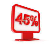 Red lightbox with a signature 45%. — Stock Photo