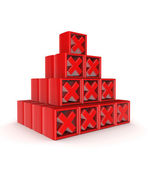 Pyramid of red cross marks. — Stock Photo