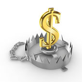 Golden dollar sign on a trap. — Stock Photo