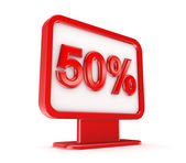 Red lightbox with a signature 50%. — Stock Photo