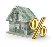 Small house and golden percents symbol. — Stock Photo