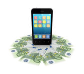 Modern mobile phone and euro banknotes — Stock Photo