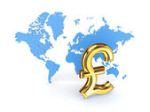 Pound sterling sign and blue map. — Stock Photo