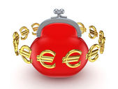 Euro signs around red purse. — Stock Photo
