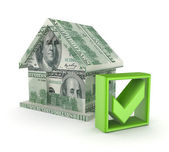 Small house made of dollars and green tick mark. — Stock Photo