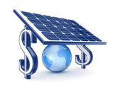 Globe under solar battery. — Stock Photo