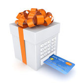 Credit card inserted in a gift box. — Stock Photo