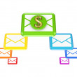 Colorful envelopes and golden dollar sign. — Stock Photo