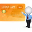 3d small person and credit card. — 图库照片 #13553251