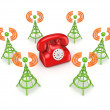 Stock Photo: Stylized antennas around red telephone.