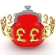 Golden pound sterling signs around red purse. - Stock Photo