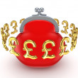 Golden pound sterling signs around red purse. - ストック写真