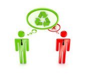 3d small , green resycle symbol and red cross mark. — Stock Photo