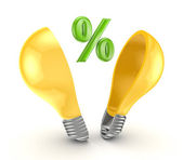 Percent symbol inside yellow lamp. — Stock Photo
