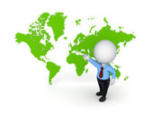 3d small person against map of the world. — Stock Photo
