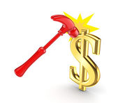 A hammer and sign of the dollar. — Stock Photo