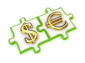 Merged puzzles with dollar and euro symbols. — Stock Photo