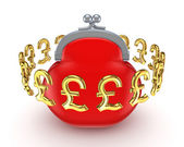 Golden pound sterling signs around red purse. — Stock Photo