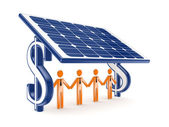 3d small person under solar battery. — Stock Photo