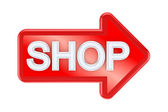 Red arrow with a word SHOP. — Stock Photo