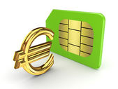 Euro sign and sim card. — Stock Photo