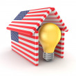 Idea symbol under the roof made of American flags. — Stock Photo