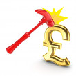 Hammer that hits sign of pound sterling. — Stock Photo #13589958