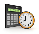 Calculator and clock. — Stock Photo