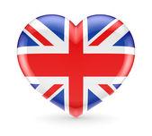 британский флаг на символ сердца. — Стоковое фото