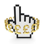 Pound sterling signs around cursor. — Stock Photo