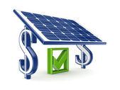 Tick mark under solar battery. — Stock Photo