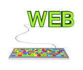 Colorful PC keyboard and big green word WEB. — Stock Photo