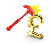 A hammer that hits the sign of pound sterling. — Stock Photo
