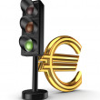 Stock Photo: Traffic light and euro sign.