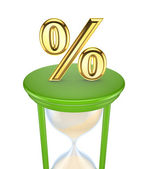 Golden Percent symbol on a green sand glass. — Stock Photo