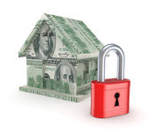 3d small house made of dollars and red lock. — Stock Photo