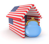 Blue purse under the roof made of american flags. — Stock Photo