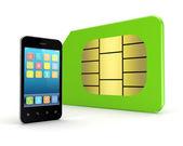 Moderno teléfono móvil y la tarjeta sim. — Foto de Stock