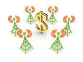 Stylized antennas around dollar sign. — Stock Photo