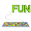 Stock Photo: Colorful PC keyword and big green word FUN.