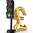 Stock Photo: Traffic light and pound sterling sign.