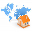 3d small house against map of the world. — Stock Photo #13603314