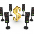 Traffic lights around dollar sign. - Foto Stock