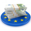 European Union symbol and packs of euro. - Foto Stock