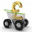 Pound sterling sign in a shopping trolley. — Stockfoto