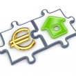 Merged puzzles with euro and home symbol. — Stock Photo