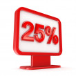 Red lightbox with a signature 25%. — Stock Photo