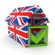 Tick mark under the roof made of english flags. — Stock Photo