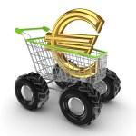 simbolo dell'euro in un carrello — Foto Stock