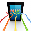 Colorful patchcords connected to tablet pc. — Foto Stock